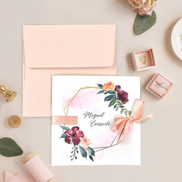 Invitación de boda blush