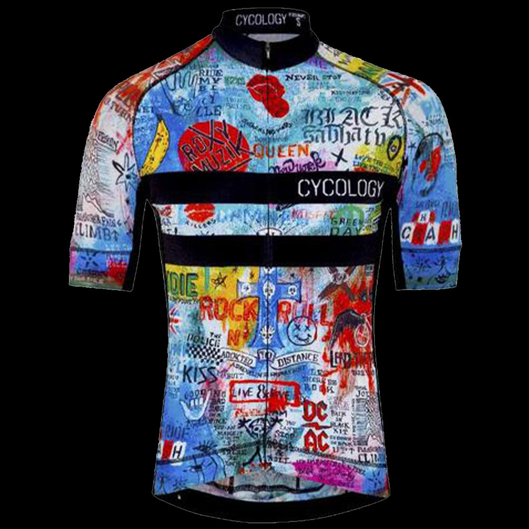 CYCOLOGY ROCK N ROLL MEN'S CYCLING JERSEY BLUE