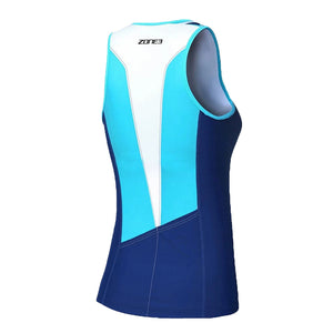 Zone3 Women's Lava Long Distance Tri Top- Navy White Teal