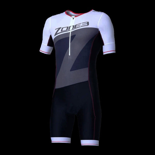 Zone3 Men's LAVA TriSuit Short Sleeve - Black/Red