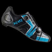 Load image into Gallery viewer, Lake CX-241 Wide Black Sky Blue Carbon Sole Cycling Shoes