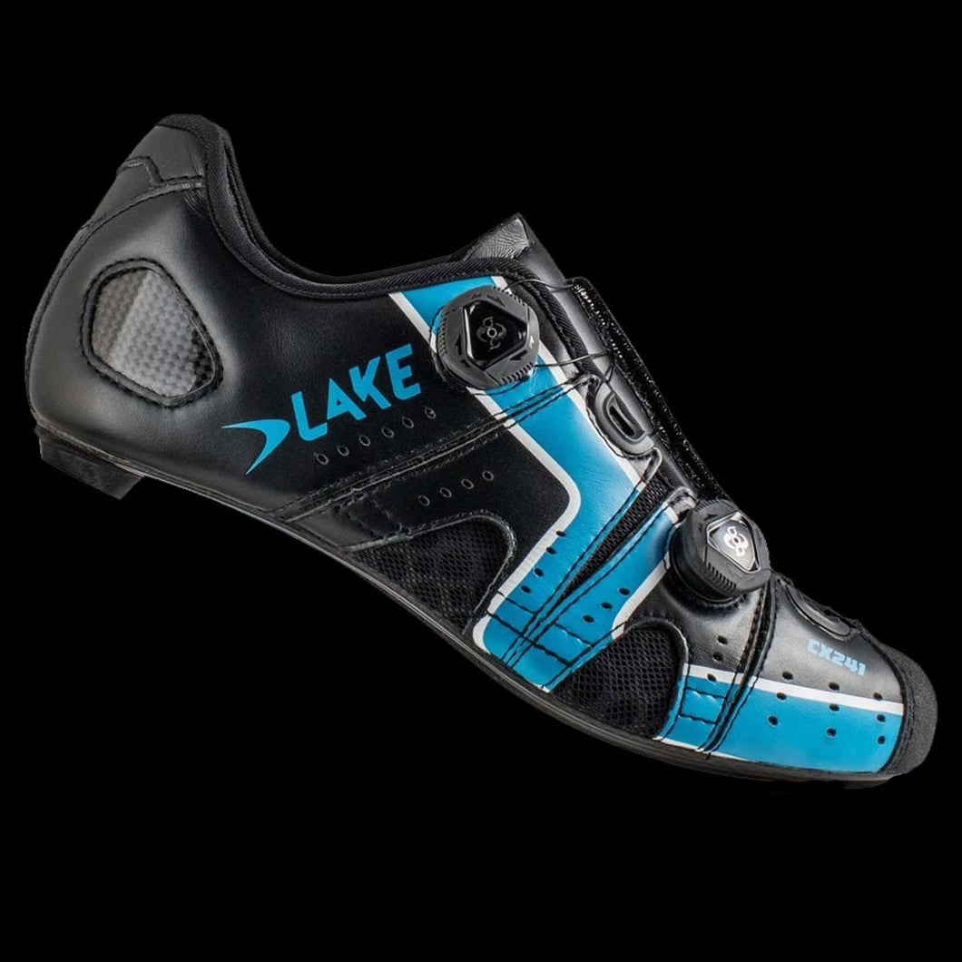 Lake CX-241 Wide Black Sky Blue Carbon Sole Cycling Shoes