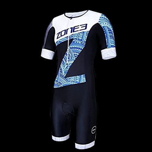 Zone3 Men's Lava TriSuit Short Sleeve - HAWAII PRINT - BLACK/WHITE/BLUE