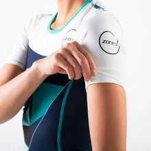 Load image into Gallery viewer, Zone3 Women's Lava Short Sleeves Trisuit- Navy White Teal