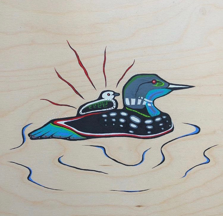 Loon and Chick Original Painting