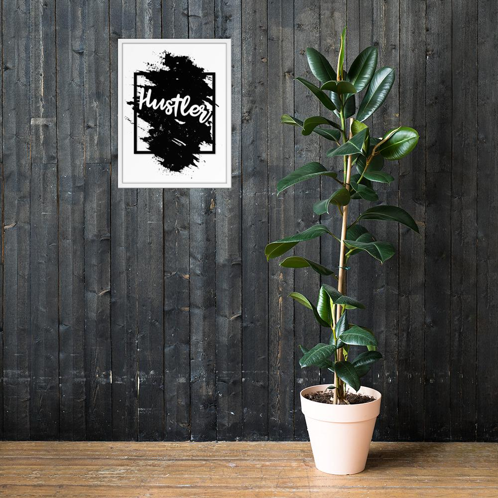 "Framed Poster ""The Hustler"" White18×24 - Mperior: The Store For Entrepreneurs, Hustlers and Achievers"