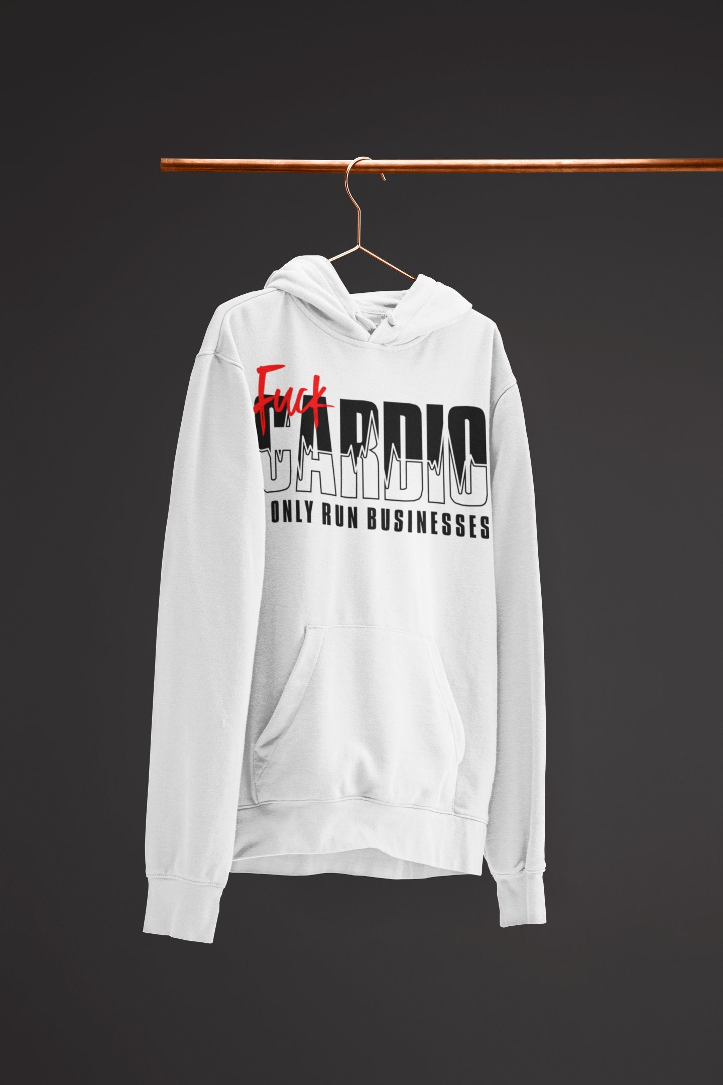 "Mens Hoodie ""F*ck Cardio"" WhiteS - Mperior: The Store For Entrepreneurs, Hustlers and Achievers"