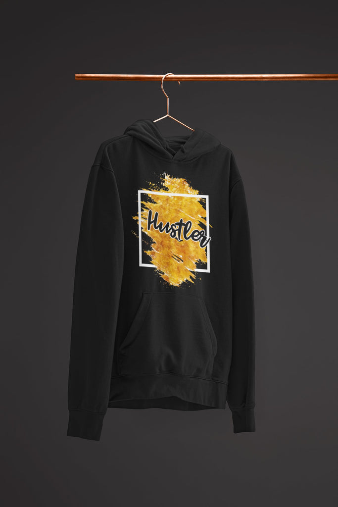 "Mens Hoodie ""Hustler"" Orange Edition BlackS - Mperior: The Store For Entrepreneurs, Hustlers and Achievers"