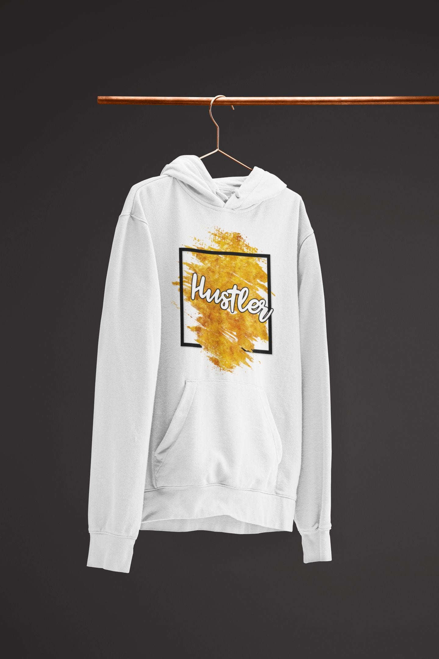 "Mens Hoodie ""Hustler"" Orange Edition WhiteS - Mperior: The Store For Entrepreneurs, Hustlers and Achievers"