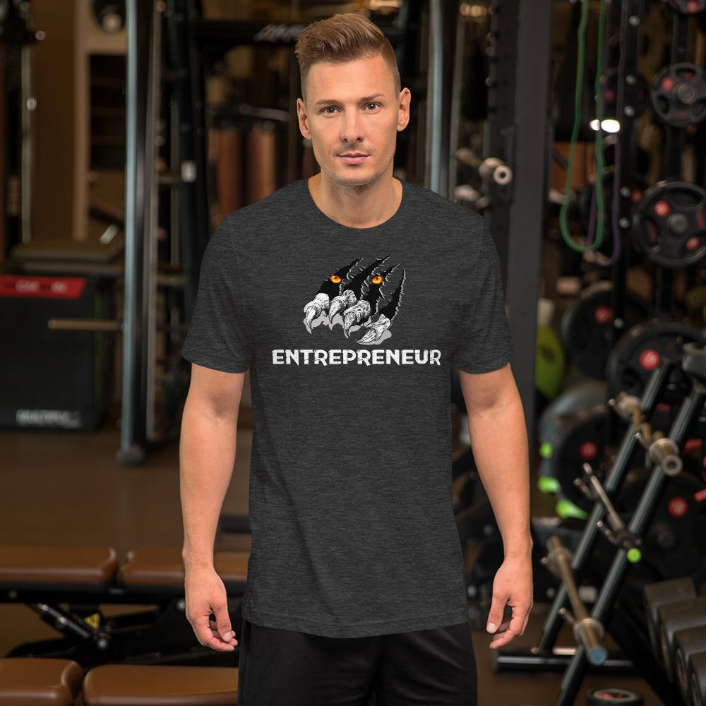 "Mens Roundneck T-Shirt ""Claws"" Dark Grey HeatherXS - Mperior: The Store For Entrepreneurs, Hustlers and Achievers"