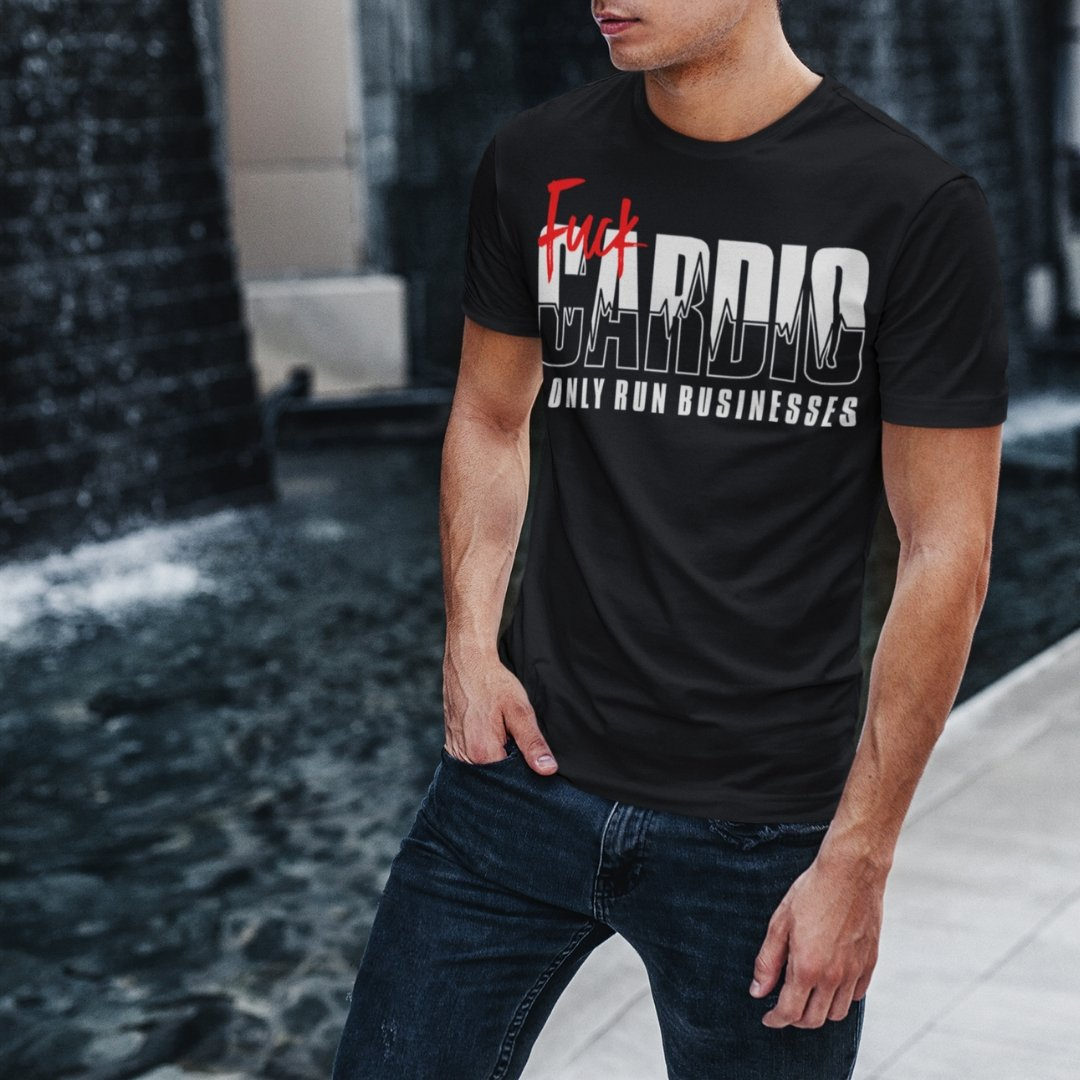 "Mens Roundneck T-Shirt ""F*ck Cardio"" BlackXS - Mperior: The Store For Entrepreneurs, Hustlers and Achievers"