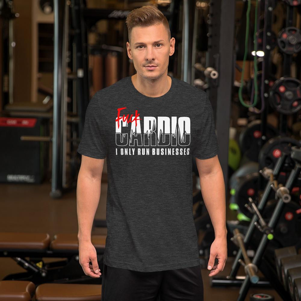 "Mens Roundneck T-Shirt ""F*ck Cardio"" Dark Grey HeatherXS - Mperior: The Store For Entrepreneurs, Hustlers and Achievers"