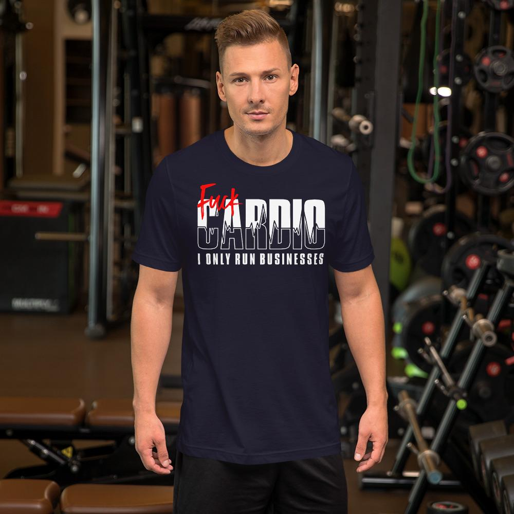 "Mens Roundneck T-Shirt ""F*ck Cardio"" NavyXS - Mperior: The Store For Entrepreneurs, Hustlers and Achievers"