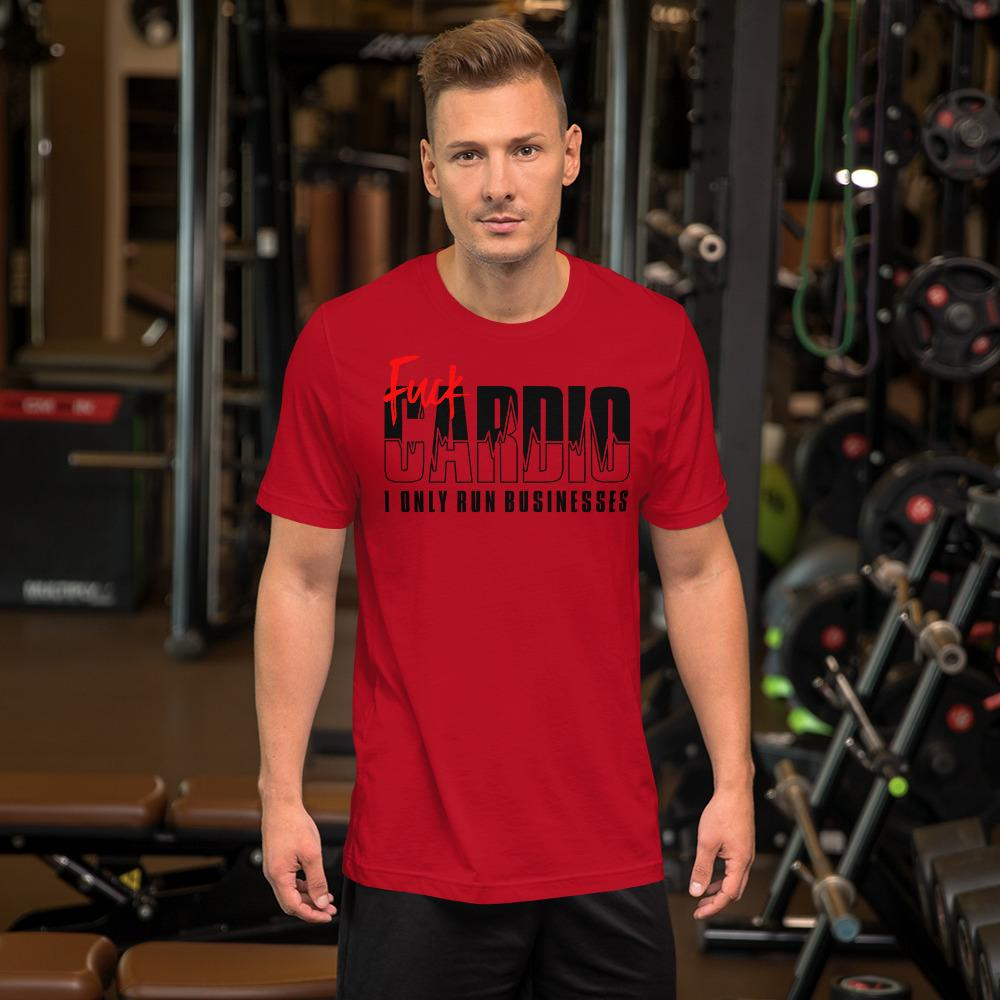 "Mens Roundneck T-Shirt ""F*ck Cardio"" RedS - Mperior: The Store For Entrepreneurs, Hustlers and Achievers"