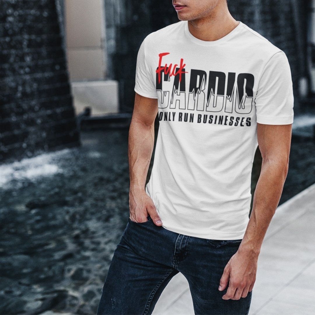 "Mens Roundneck T-Shirt ""F*ck Cardio"" WhiteXS - Mperior: The Store For Entrepreneurs, Hustlers and Achievers"