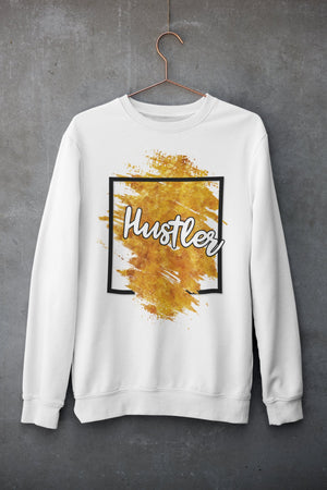 "Mens Sweatshirt ""Hustler"" Orange WhiteS - Mperior: The Store For Entrepreneurs, Hustlers and Achievers"