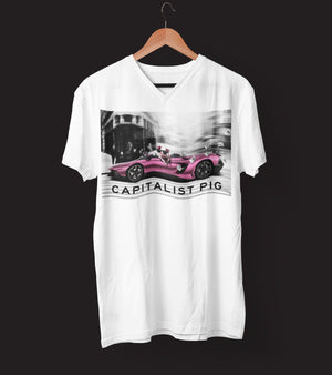 "Mens V-Neck T-Shirt ""Capitalist"" WhiteS - Mperior: The Store For Entrepreneurs, Hustlers and Achievers"
