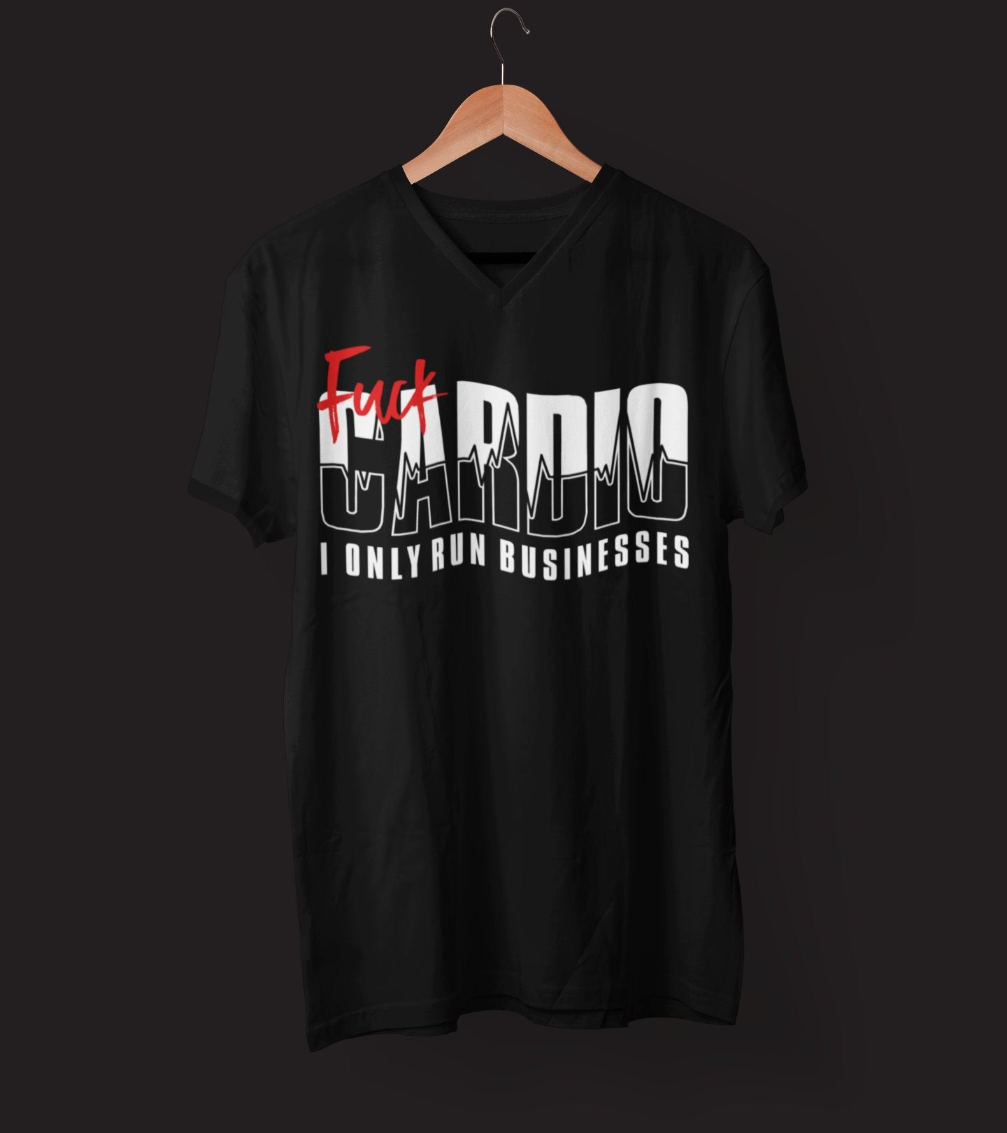 "Mens V-Neck T-Shirt ""F*ck Cardio"" BlackS - Mperior: The Store For Entrepreneurs, Hustlers and Achievers"