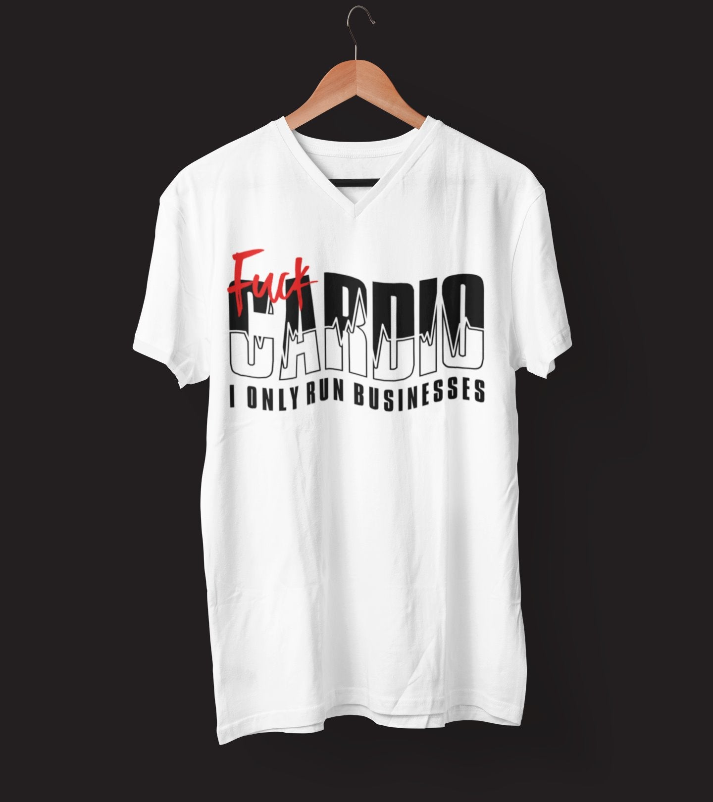 "Mens V-Neck T-Shirt ""F*ck Cardio"" WhiteS - Mperior: The Store For Entrepreneurs, Hustlers and Achievers"