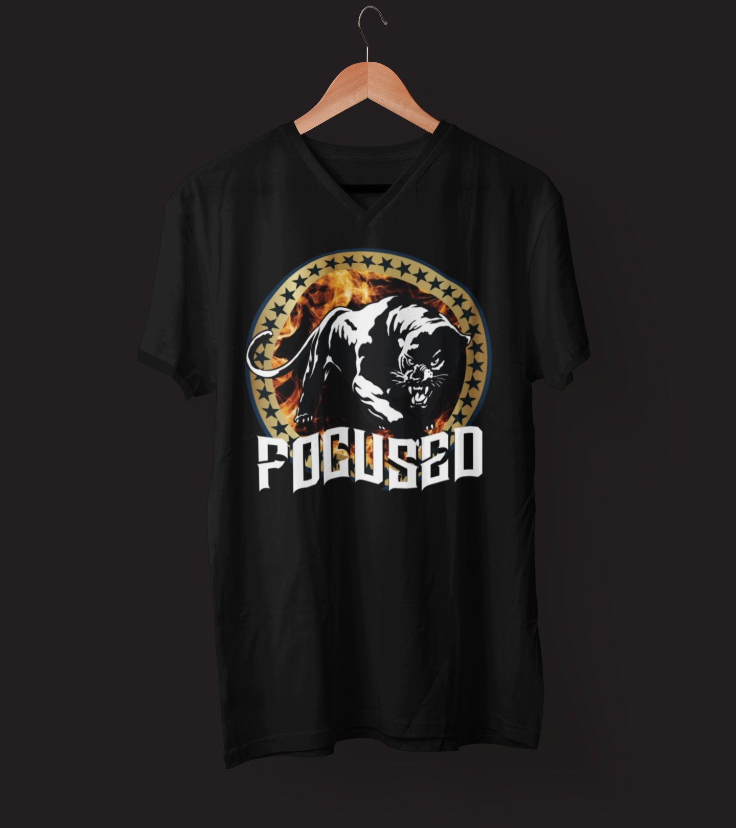 "Mens V-Neck T-Shirt ""Focused"" BlackS - Mperior: The Store For Entrepreneurs, Hustlers and Achievers"