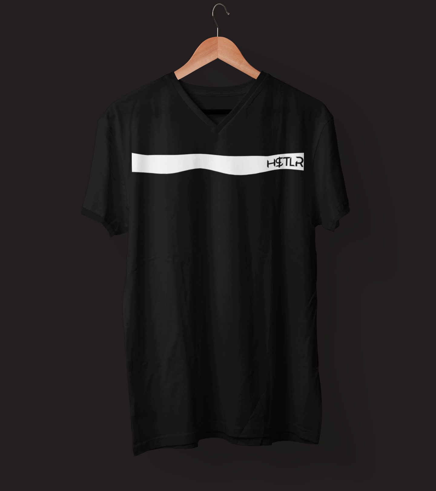 "Mens V-Neck T-Shirt ""H$TLR"" BlackS - Mperior: The Store For Entrepreneurs, Hustlers and Achievers"