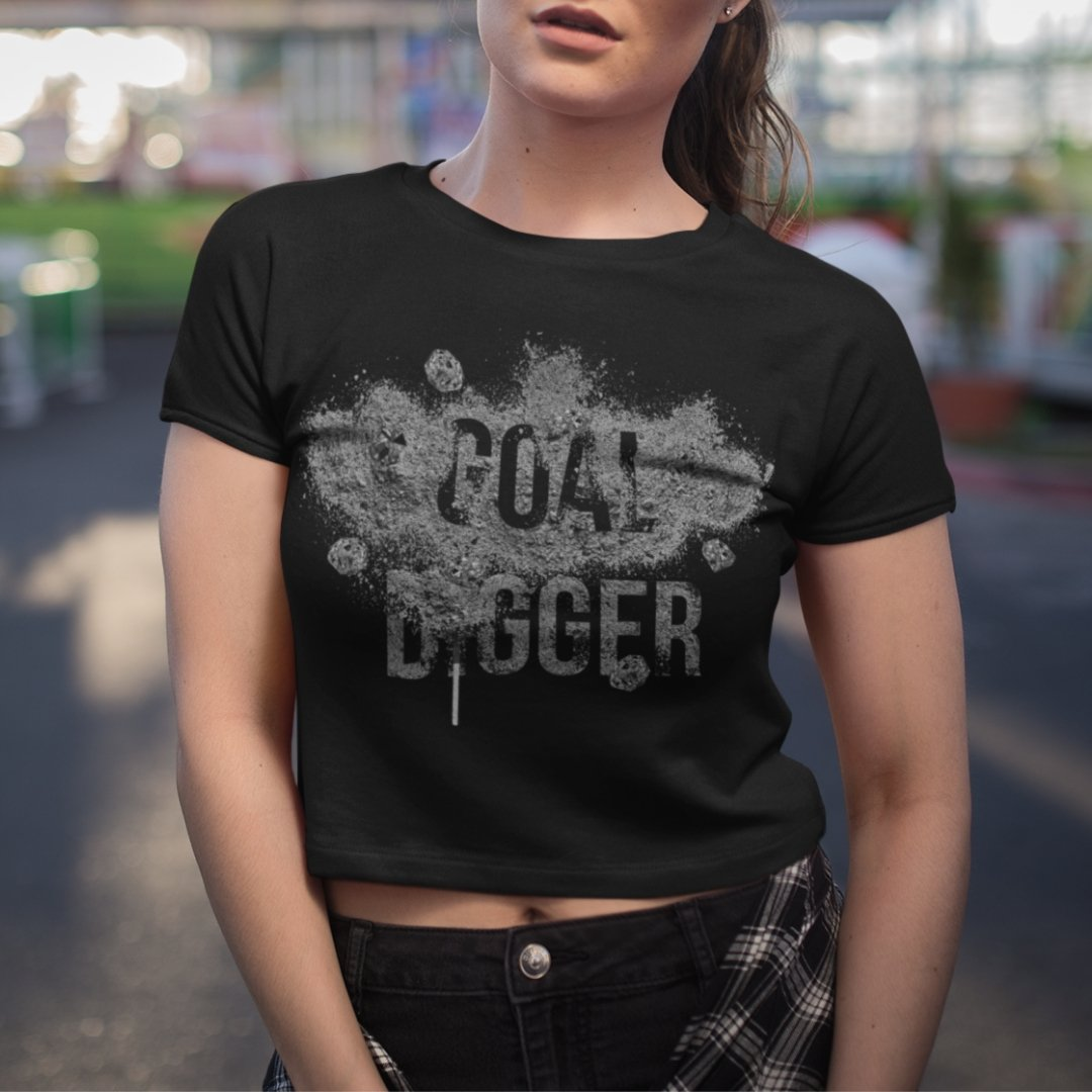 "Womens Crop Tee ""GoalDigger"" BlackXS/SM - Mperior: The Store For Entrepreneurs, Hustlers and Achievers"