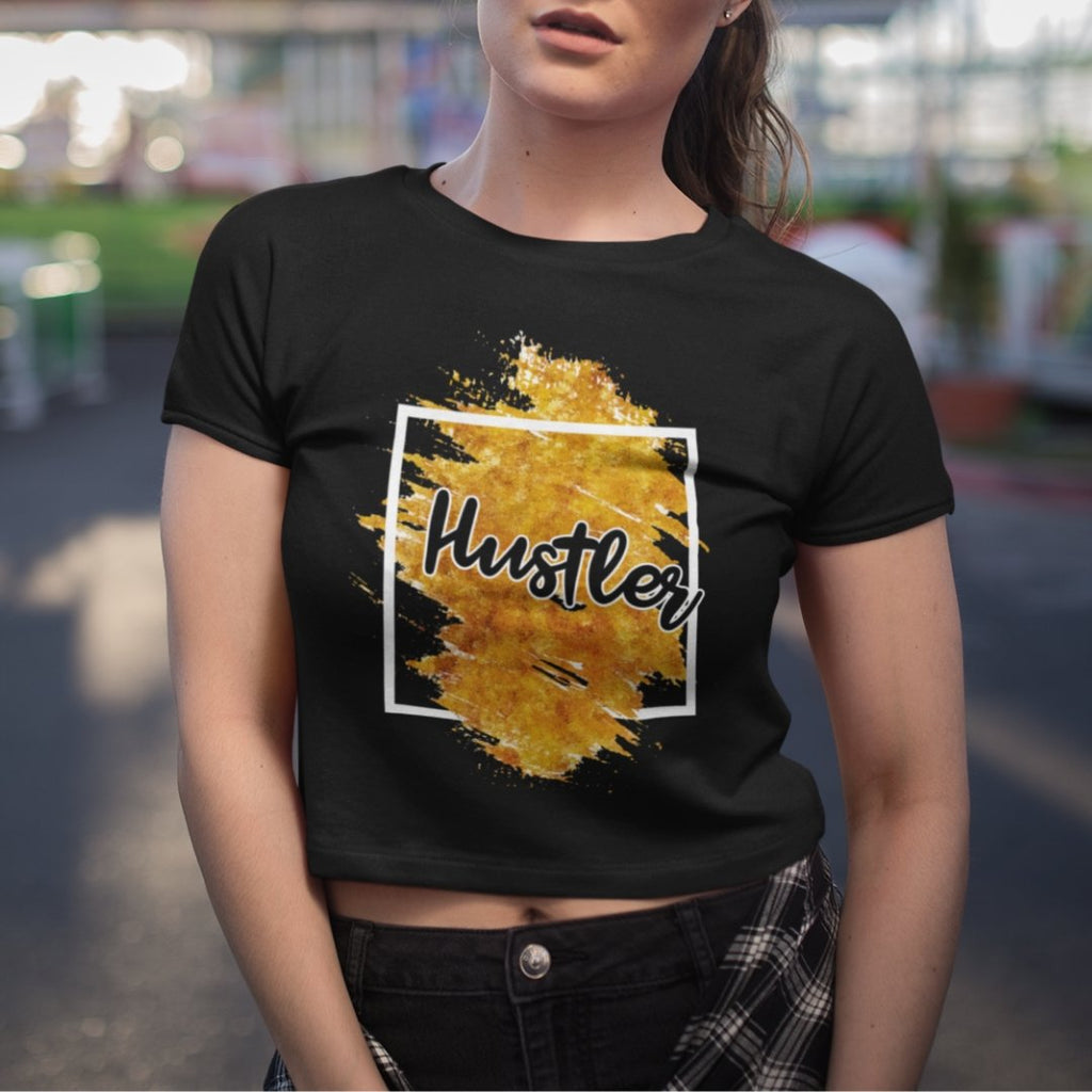 "Womens Crop Tee ""Hustler"" Orange Edition BlackXS/SM - Mperior: The Store For Entrepreneurs, Hustlers and Achievers"