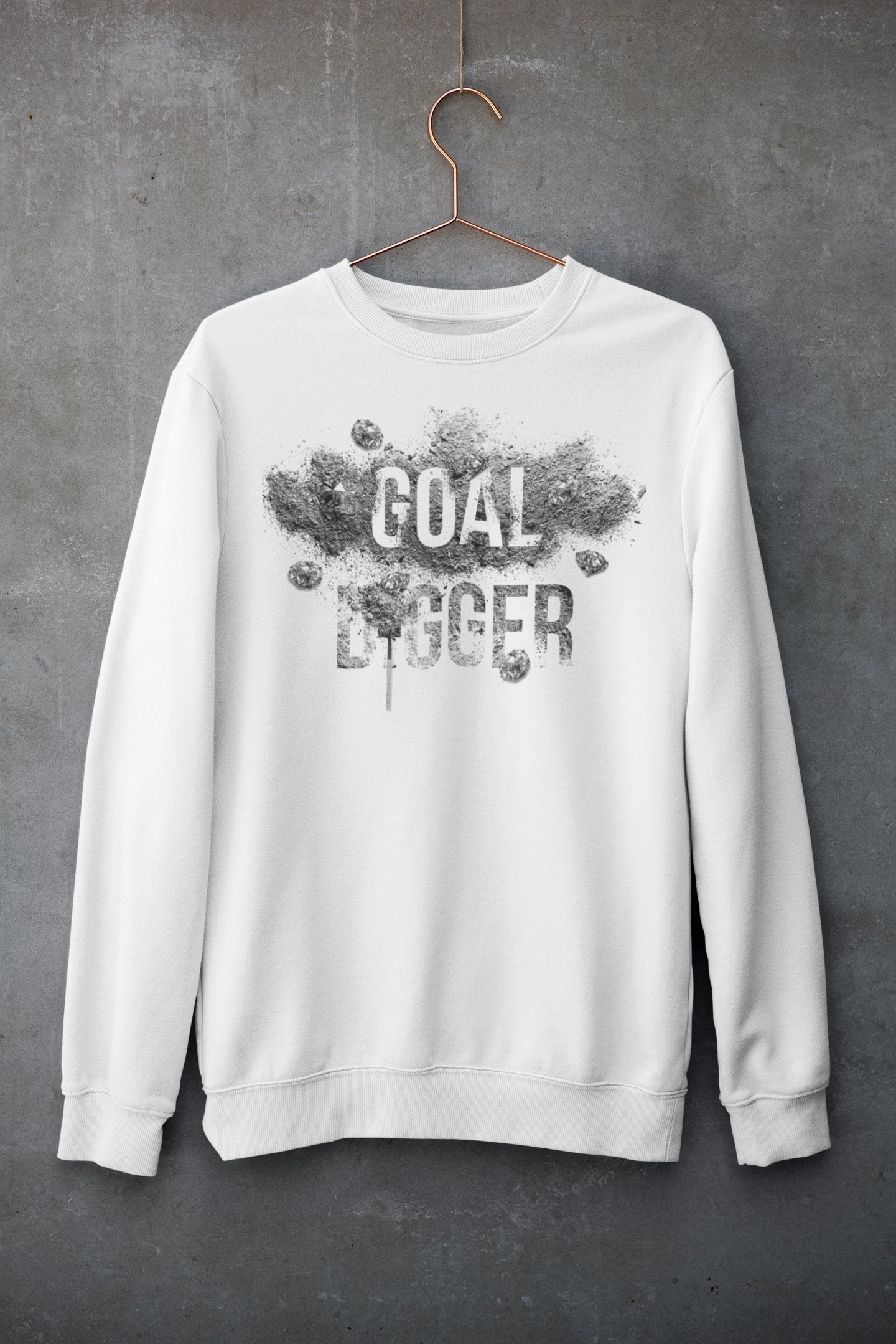 "Womens Oversize Sweatshirt ""GoalDigger"" WhiteS - Mperior: The Store For Entrepreneurs, Hustlers and Achievers"