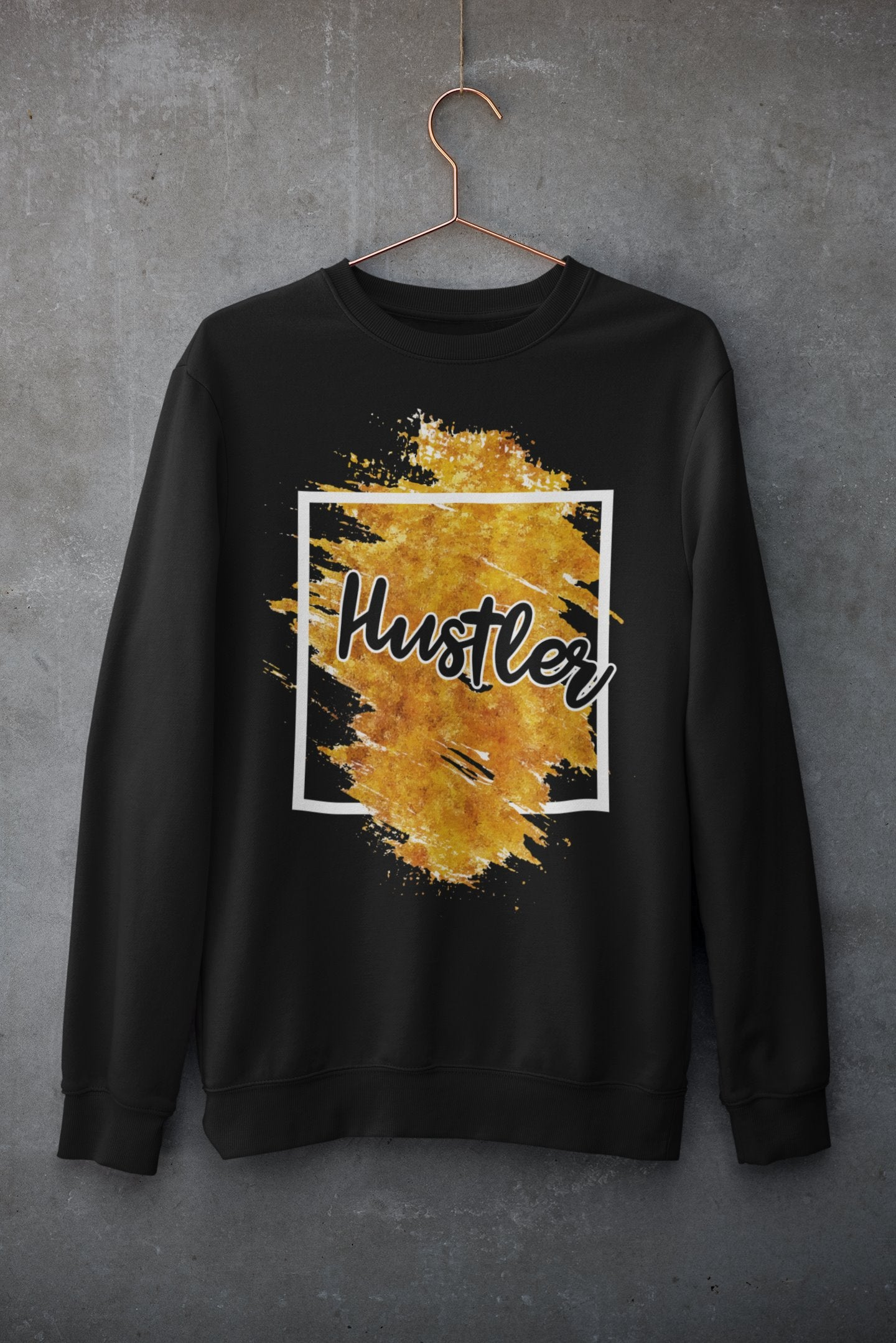 "Womens Oversize Sweatshirt ""Hustler"" Orange Edition BlackS - Mperior: The Store For Entrepreneurs, Hustlers and Achievers"