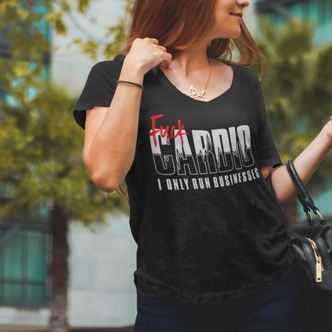 "Womens Scoopneck T-Shirt ""F*ck Cardio"" BlackXS - Mperior: The Store For Entrepreneurs, Hustlers and Achievers"