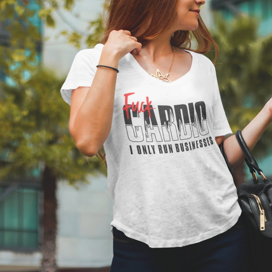 "Womens Scoopneck T-Shirt ""F*ck Cardio"" WhiteXS - Mperior: The Store For Entrepreneurs, Hustlers and Achievers"