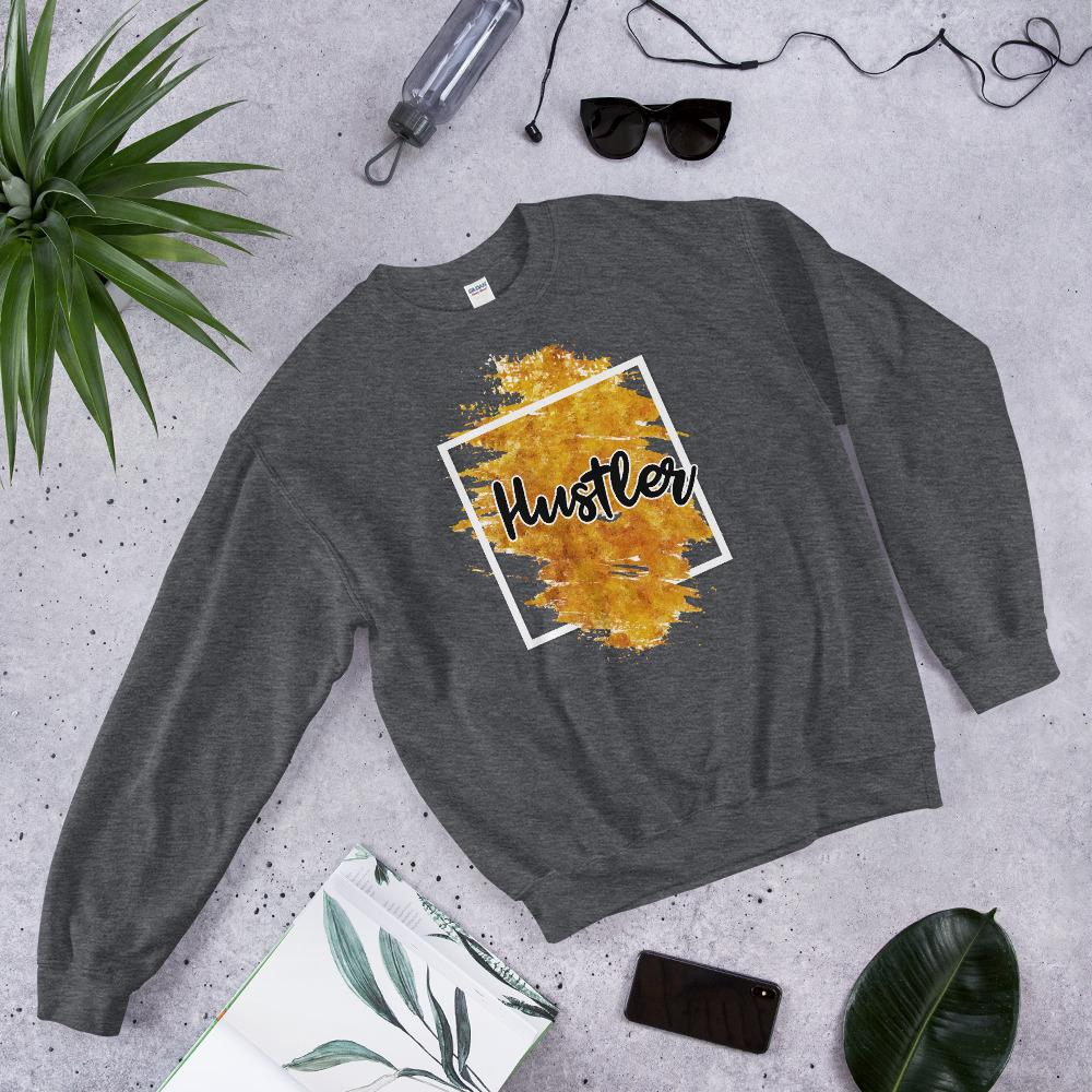 "Womens Sweatshirt ""Hustler"" Orange Edition Dark HeatherS - Mperior: The Store For Entrepreneurs, Hustlers and Achievers"