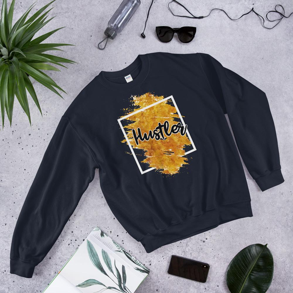 "Womens Sweatshirt ""Hustler"" Orange Edition NavyS - Mperior: The Store For Entrepreneurs, Hustlers and Achievers"