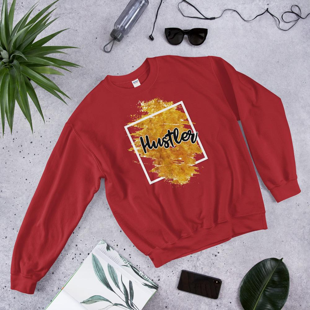 "Womens Sweatshirt ""Hustler"" Orange Edition RedS - Mperior: The Store For Entrepreneurs, Hustlers and Achievers"