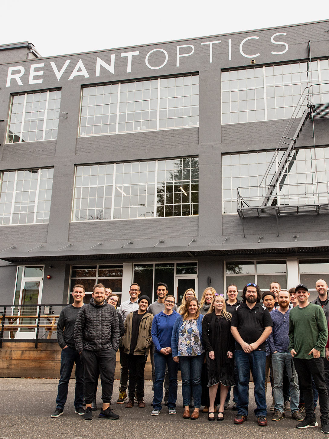 The Revant team in front of the Revant office
