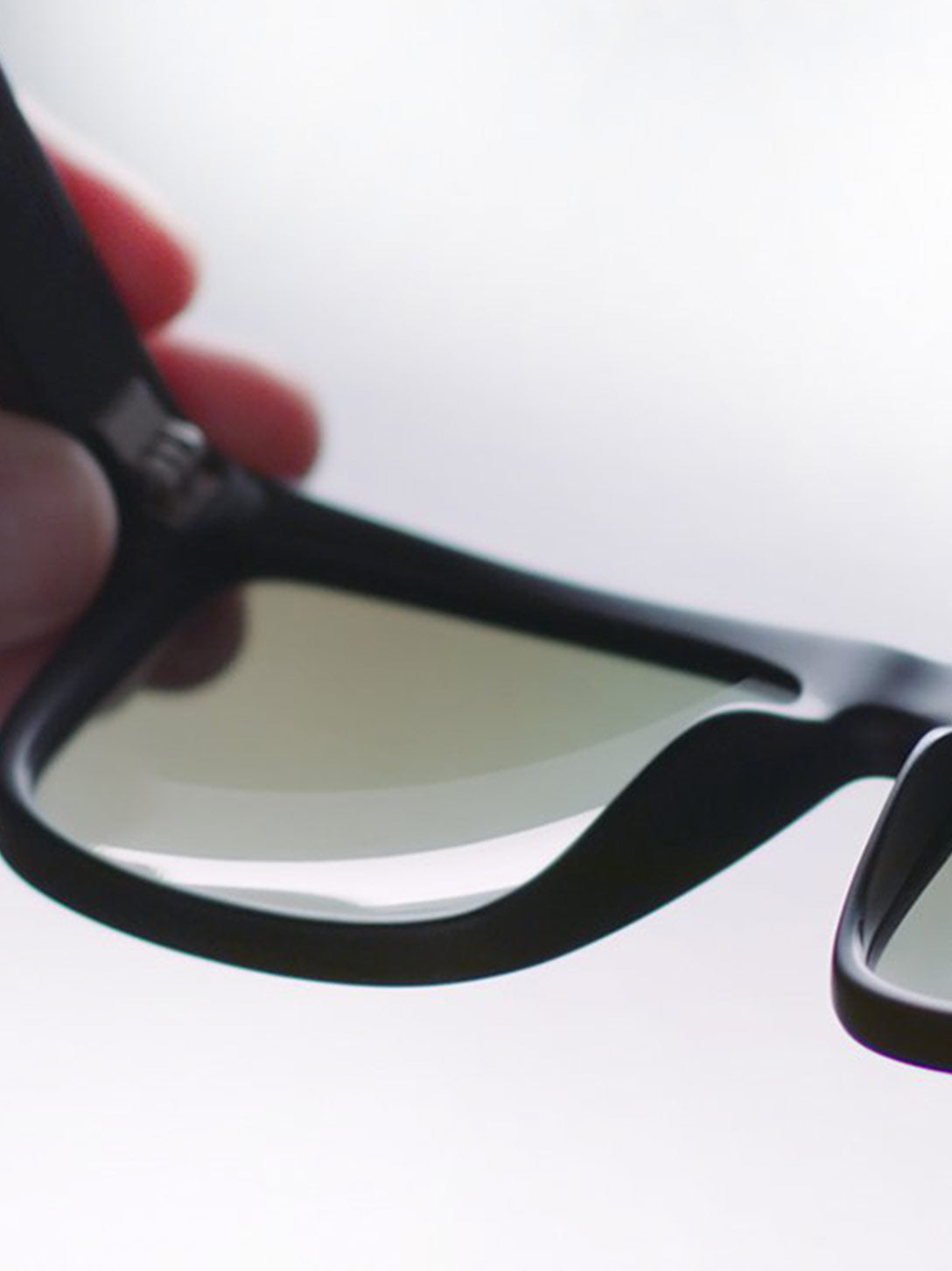 Lenses being inspected for quality in the frame
