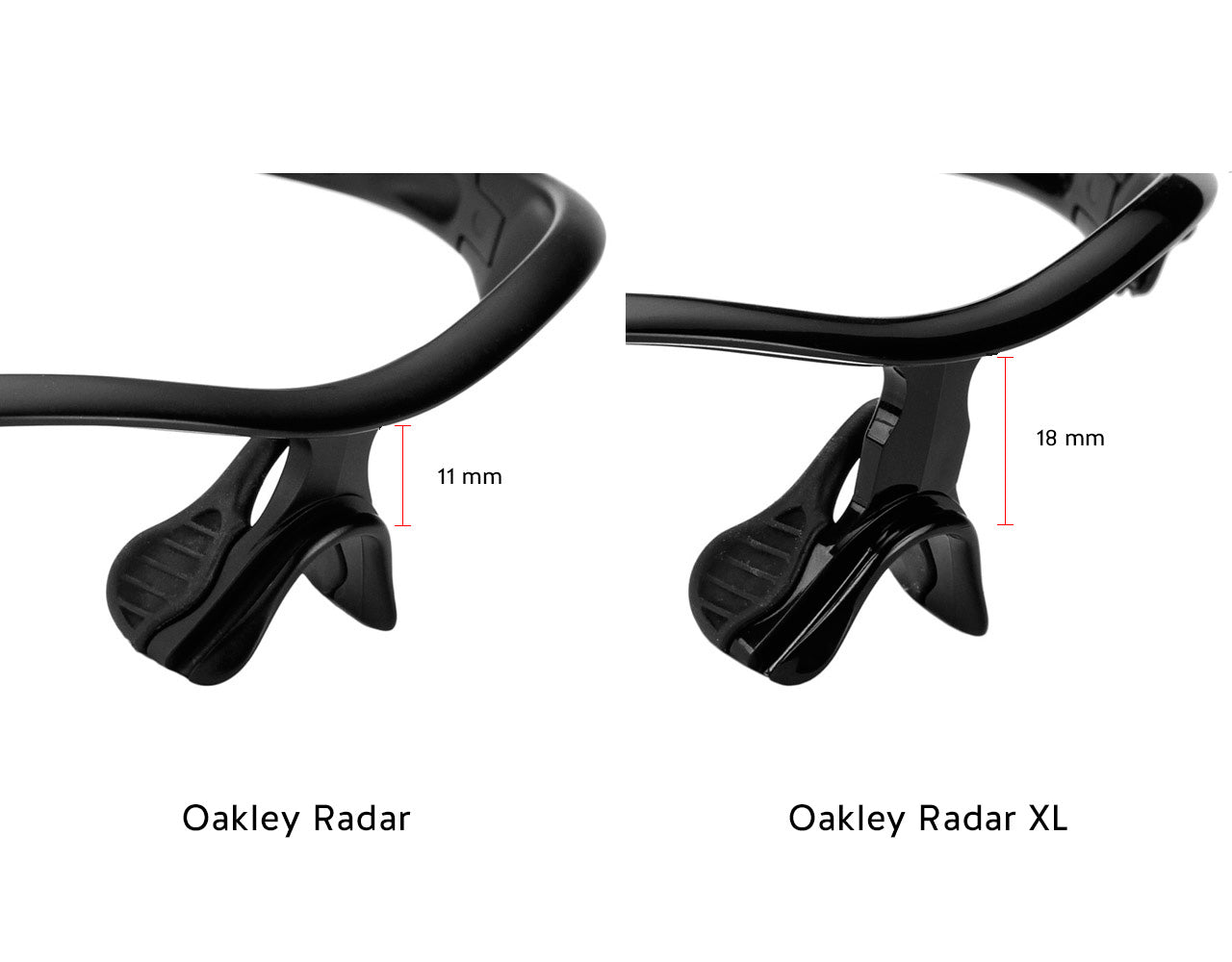 Oakley Radar Nose Bridge Height Comparison