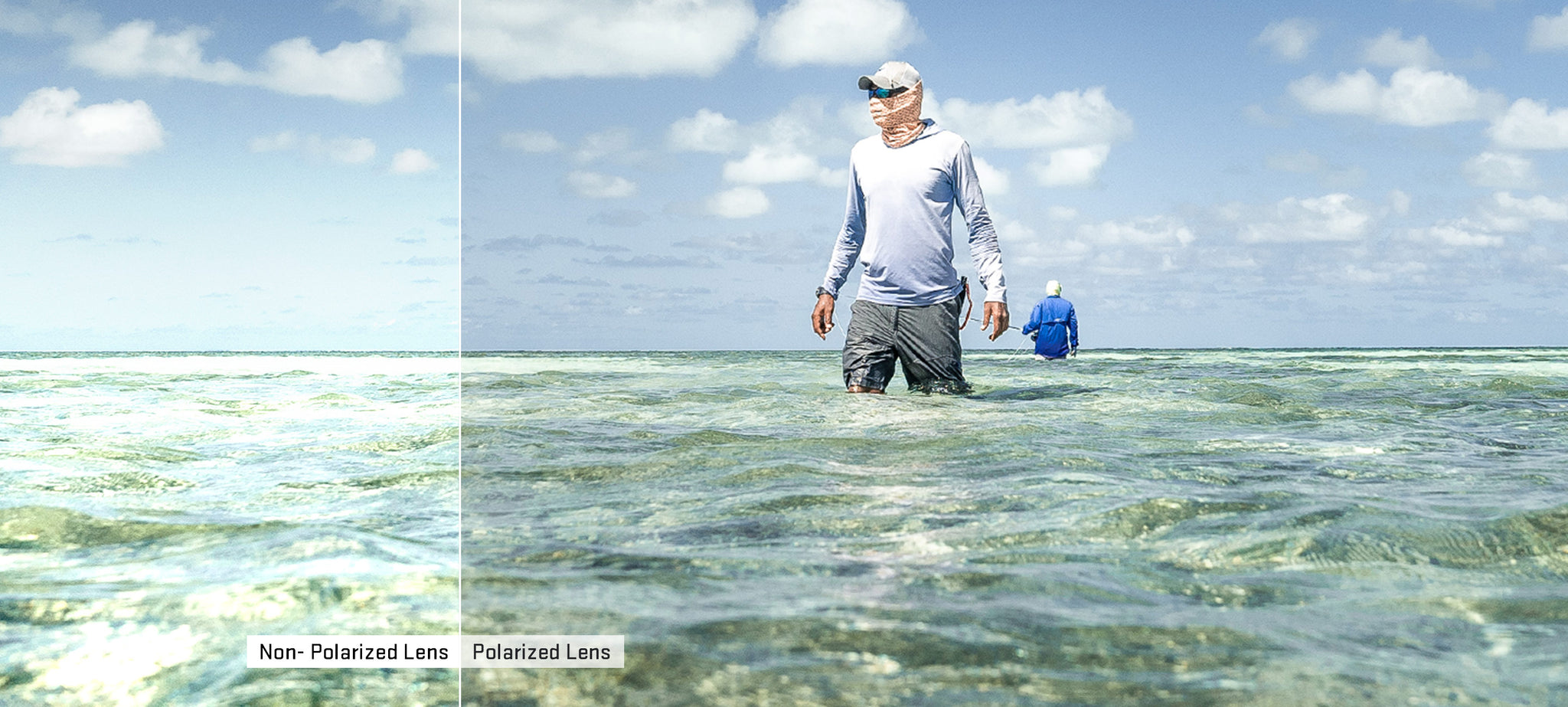 Comparing the view you see looking at water while using non-polarized vs polarized lenses