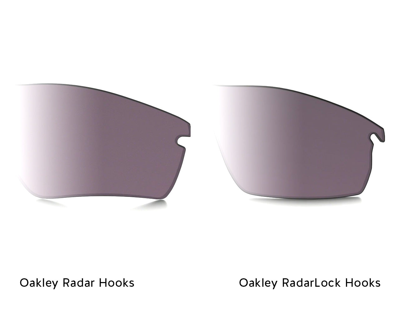 Oakley Radar Hooks (left) vs. Oakley Radarlock Hooks (right)