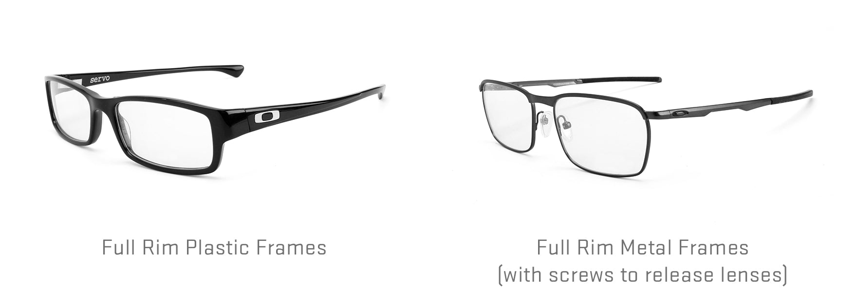 Full rim plastic frames and full rim metal frames