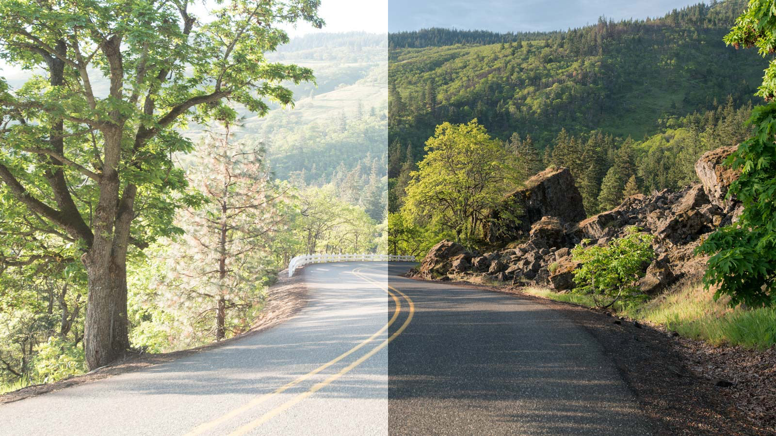 View of the road seen with and without the Stealth Black lens