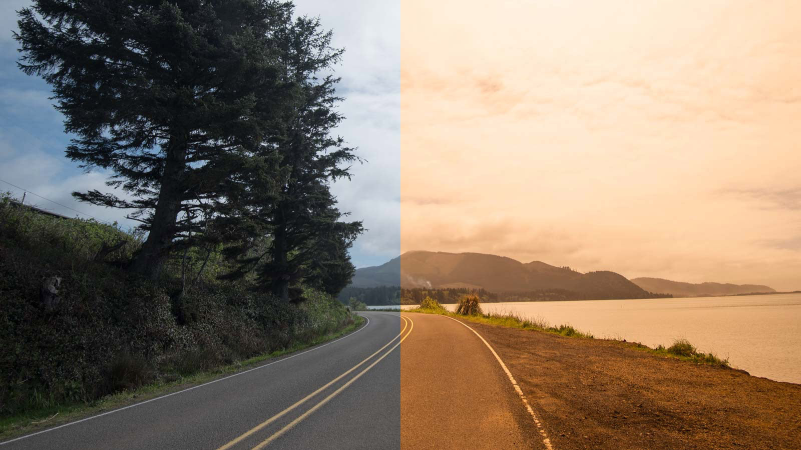 View of the road seen with and without the Tracer Orange lens