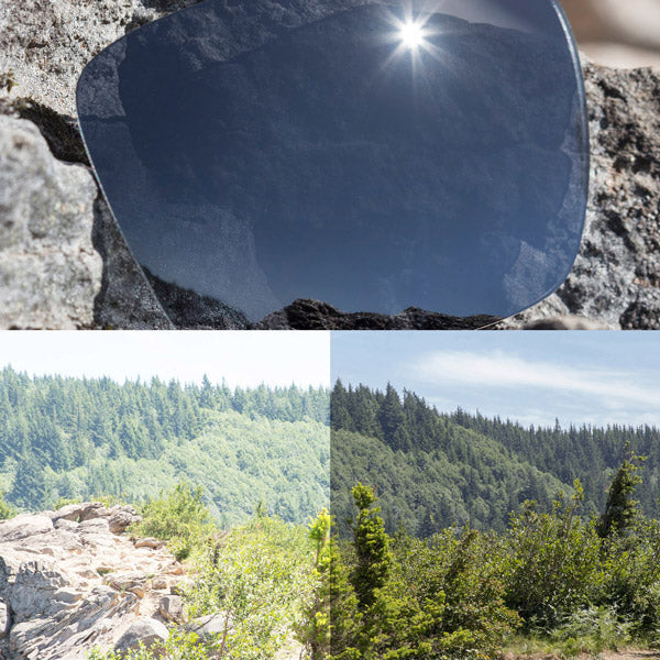 non-polarized black chrome lenses reflecting the sun and showing a comparison of the tint looking through the lens versus the standard view without the lens