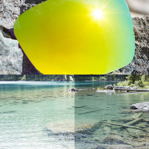non-polarized 24k gold lenses reflecting the sun and showing a comparison of the tint looking through the lens versus the standard view without the lens