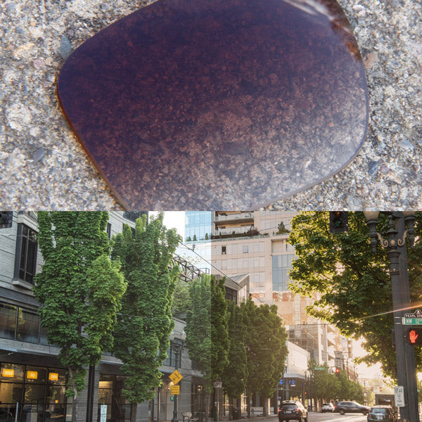 non-polarized brown gradient lenses reflecting the sun and showing a comparison of the tint looking through the lens versus the standard view without the lens