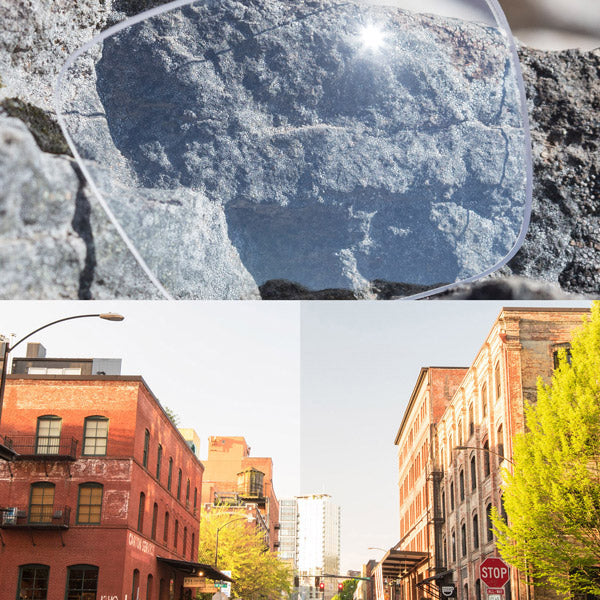 non-polarized crystal clear lenses reflecting the sun and showing a comparison of the tint looking through the lens versus the standard view without the lens