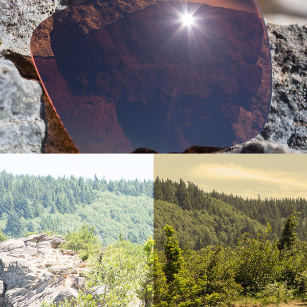 non-polarized bronze brown lenses reflecting the sun and showing a comparison of the tint looking through the lens versus the standard view without the lens
