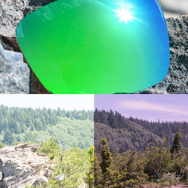 non-polarized emerald green lenses reflecting the sun and showing a comparison of the tint looking through the lens versus the standard view without the lens