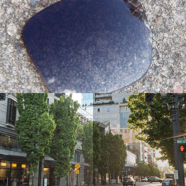 non-polarized grey gradient lenses reflecting the sun and showing a comparison of the tint looking through the lens versus the standard view without the lens