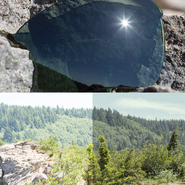 non-polarized grey green lenses reflecting the sun and showing a comparison of the tint looking through the lens versus the standard view without the lens
